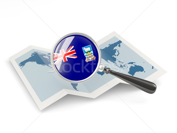 Magnified flag of falkland islands with map Stock photo © MikhailMishchenko