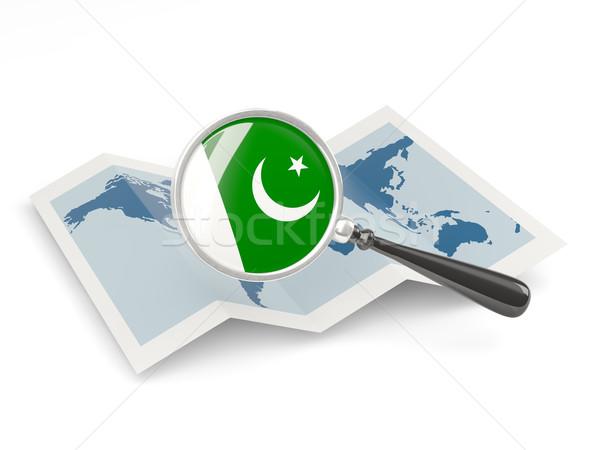 Vlag Pakistan kaart witte Stockfoto © MikhailMishchenko