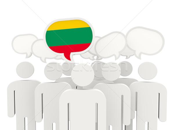 Mensen vlag Litouwen geïsoleerd witte vergadering Stockfoto © MikhailMishchenko