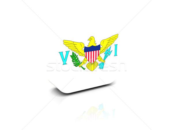 Piazza icona bandiera USA Virgin Islands riflessione Foto d'archivio © MikhailMishchenko
