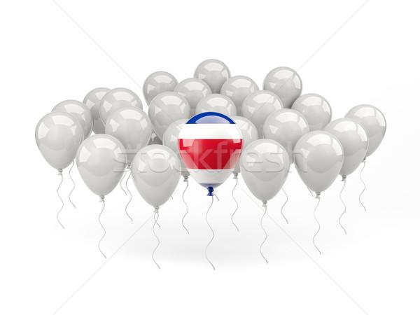 Aire globos bandera Costa Rica aislado blanco Foto stock © MikhailMishchenko