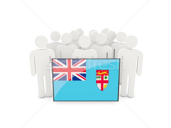 Pessoas bandeira Fiji isolado branco multidão Foto stock © MikhailMishchenko