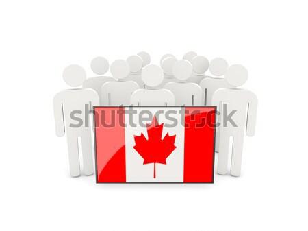 Insanlar bayrak Kanada yalıtılmış beyaz kalabalık Stok fotoğraf © MikhailMishchenko