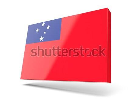 Vierkante icon vlag Samoa metaal frame Stockfoto © MikhailMishchenko