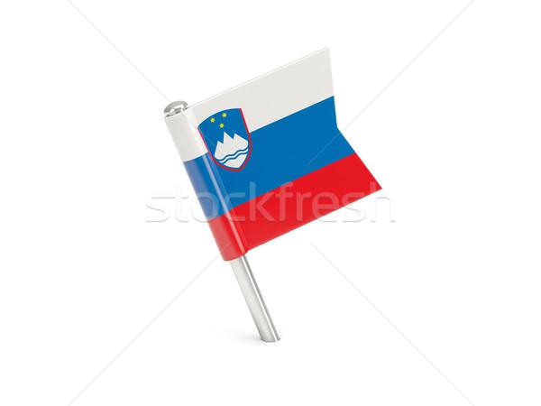 Bandiera pin Slovenia isolato bianco Foto d'archivio © MikhailMishchenko