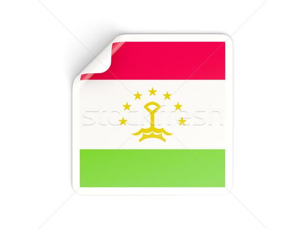 Tér matrica zászló Tádzsikisztán izolált fehér Stock fotó © MikhailMishchenko