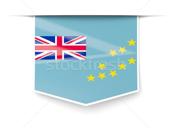 Praça etiqueta bandeira Tuvalu isolado branco Foto stock © MikhailMishchenko