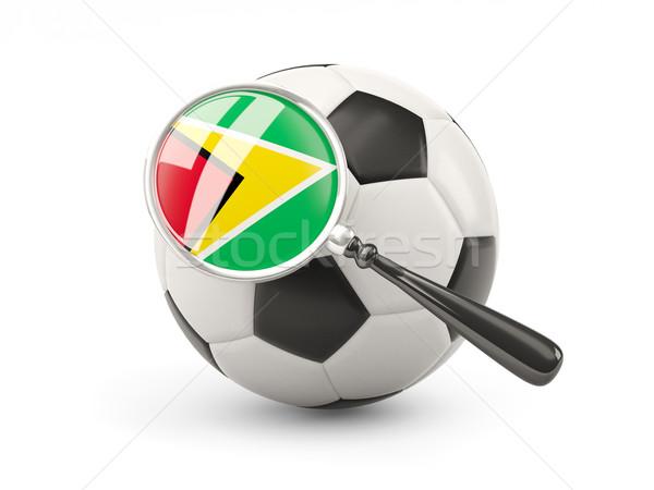 Futball nagyított zászló Guyana izolált fehér Stock fotó © MikhailMishchenko