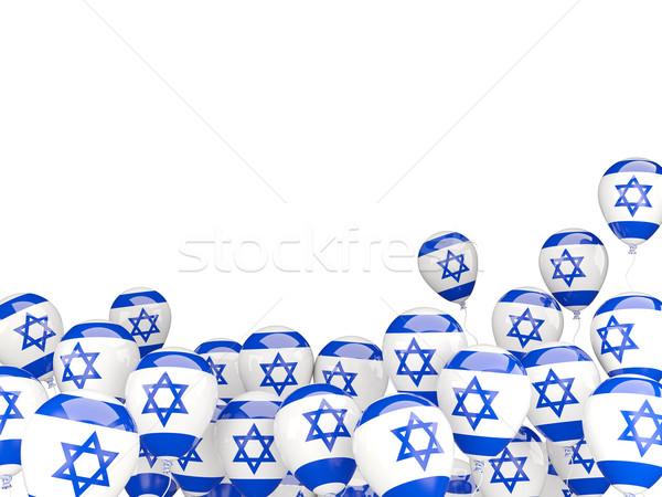 Pływające balony banderą Izrael odizolowany biały Zdjęcia stock © MikhailMishchenko