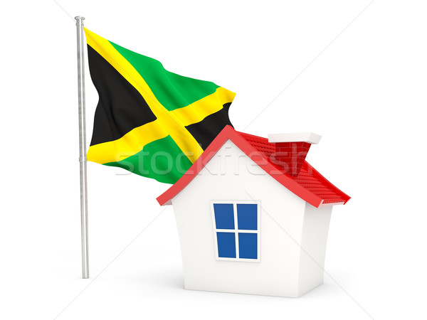 Huis vlag Jamaica geïsoleerd witte home Stockfoto © MikhailMishchenko