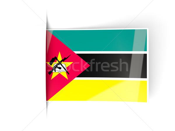Praça etiqueta bandeira Moçambique isolado branco Foto stock © MikhailMishchenko
