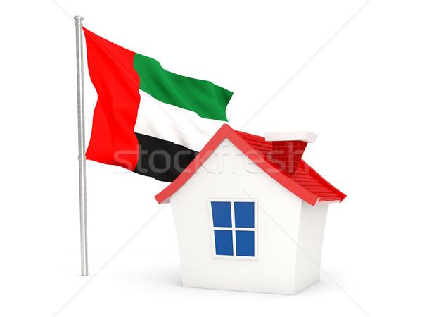 Ház zászló Egyesült Arab Emírségek izolált fehér otthon Stock fotó © MikhailMishchenko