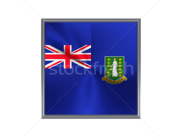 Square metal button with flag of virgin islands british Stock photo © MikhailMishchenko