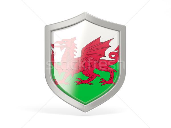 Escudo icono bandera gales aislado blanco Foto stock © MikhailMishchenko