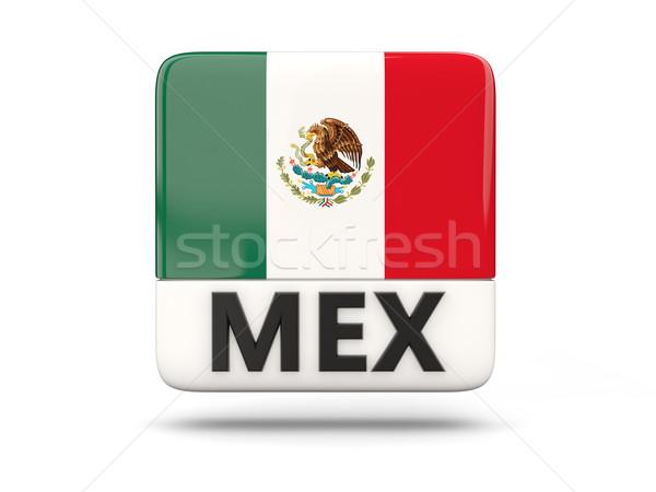Square icon with flag of mexico Stock photo © MikhailMishchenko