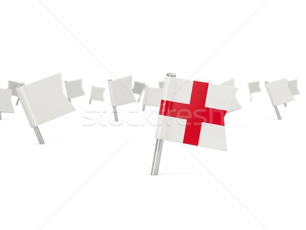 Placu pin banderą Anglii odizolowany biały Zdjęcia stock © MikhailMishchenko