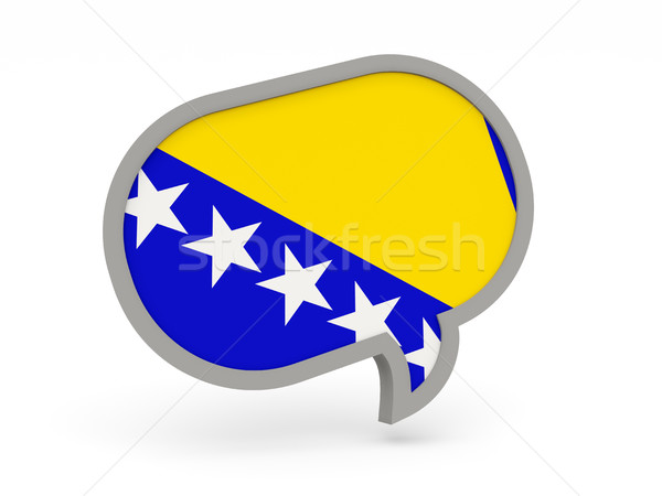 Foto stock: Chat · icono · bandera · Bosnia · Herzegovina · aislado · blanco