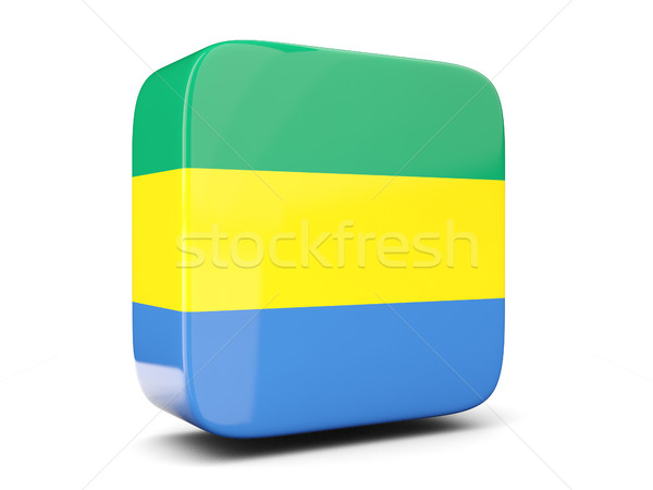 Square icon with flag of gabon square. 3D illustration Stock photo © MikhailMishchenko