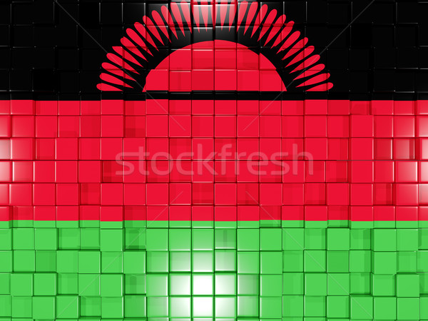 Background with square parts. Flag of malawi. 3D illustration Stock photo © MikhailMishchenko