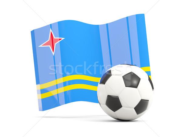 Football with waving flag of aruba isolated on white Stock photo © MikhailMishchenko