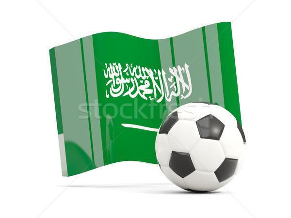 Voetbal vlag saudi geïsoleerd witte Stockfoto © MikhailMishchenko