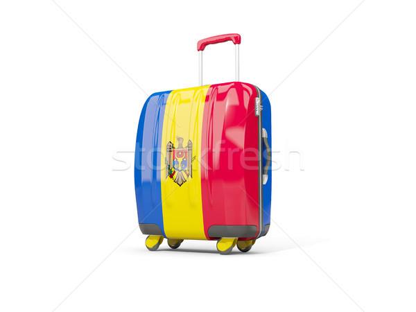 Csomagok zászló bőrönd izolált fehér 3d illusztráció Stock fotó © MikhailMishchenko
