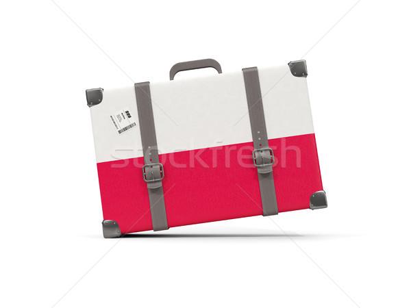 Камера флаг Польша чемодан изолированный белый Сток-фото © MikhailMishchenko
