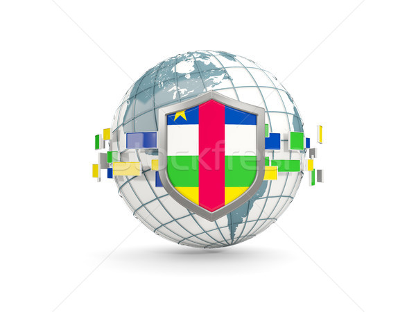 Globe and shield with flag of central african republic isolated  Stock photo © MikhailMishchenko