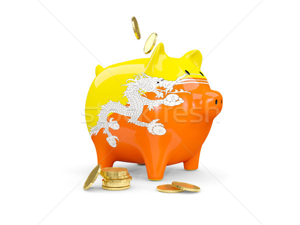 Gordura piggy bank Butão dinheiro isolado branco Foto stock © MikhailMishchenko
