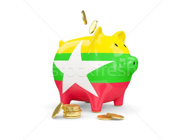 Gordura piggy bank Mianmar dinheiro isolado branco Foto stock © MikhailMishchenko