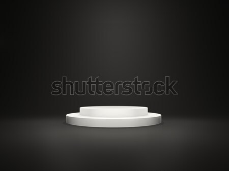 White empty pedestal with lights isolated on black background Stock photo © MikhailMishchenko