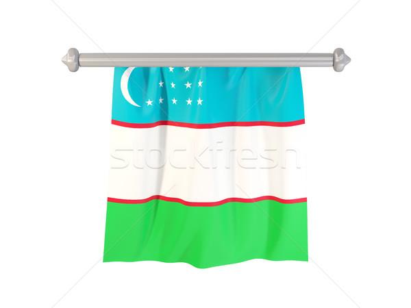 Zászló Üzbegisztán izolált fehér 3d illusztráció címke Stock fotó © MikhailMishchenko
