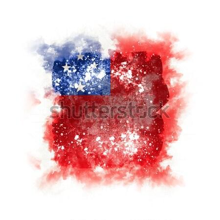 Piazza grunge bandiera francese polinesia illustrazione 3d Foto d'archivio © MikhailMishchenko
