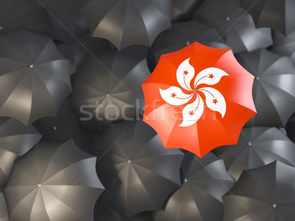 Parapluie pavillon Hong-Kong haut noir parapluies Photo stock © MikhailMishchenko