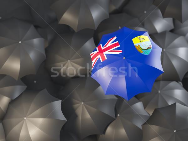 Umbrella with flag of saint helena Stock photo © MikhailMishchenko