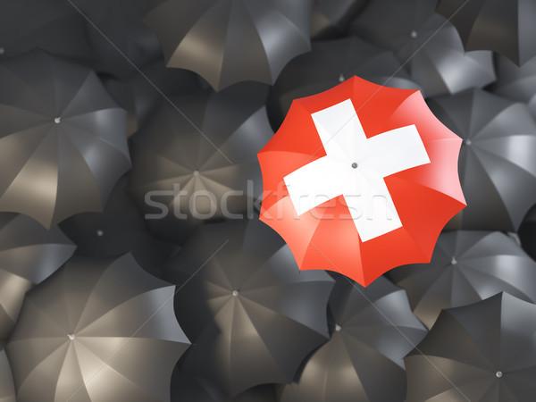 傘 フラグ スイス 先頭 黒 傘 ストックフォト © MikhailMishchenko