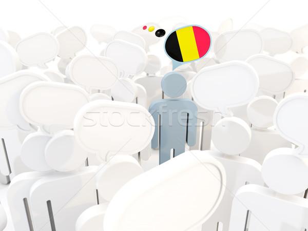 Man with flag of belgium in a crowd Stock photo © MikhailMishchenko