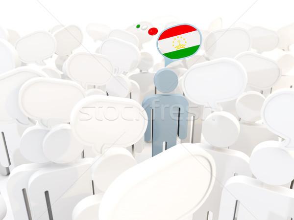 человека флаг Таджикистан толпа 3d иллюстрации знак Сток-фото © MikhailMishchenko