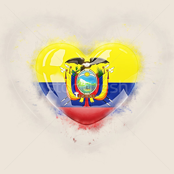 Hart vlag Ecuador grunge 3d illustration reizen Stockfoto © MikhailMishchenko