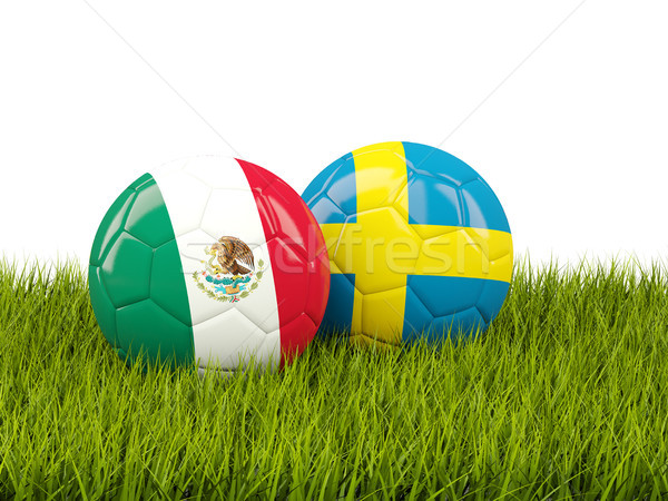 Mexico vs Sweden. Soccer concept. Footballs with flags on green  Stock photo © MikhailMishchenko