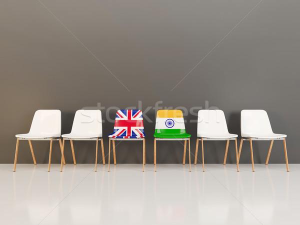 Székek zászló Egyesült Királyság India csetepaté 3d illusztráció Stock fotó © MikhailMishchenko