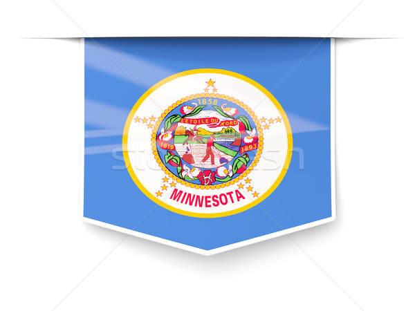 minnesota state flag square label with shadow. United states loc Stock photo © MikhailMishchenko
