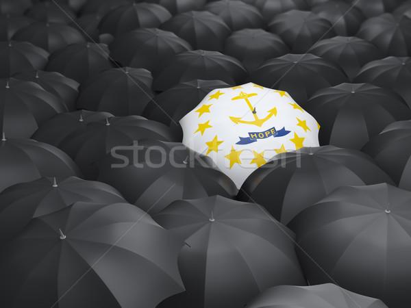 Rhode Island bandeira guarda-chuva Estados Unidos local bandeiras Foto stock © MikhailMishchenko