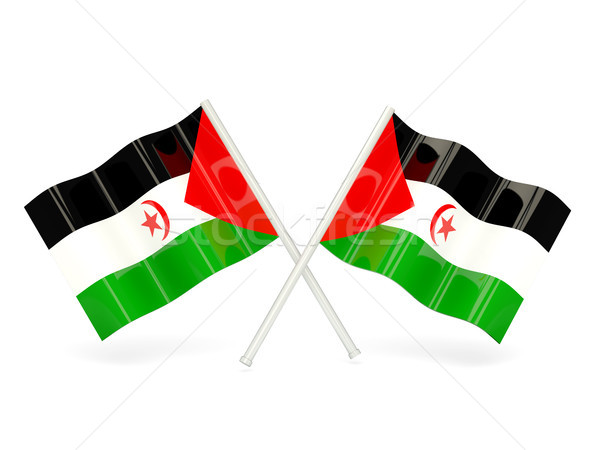 Vlag westerse sahara twee golvend vlaggen Stockfoto © MikhailMishchenko