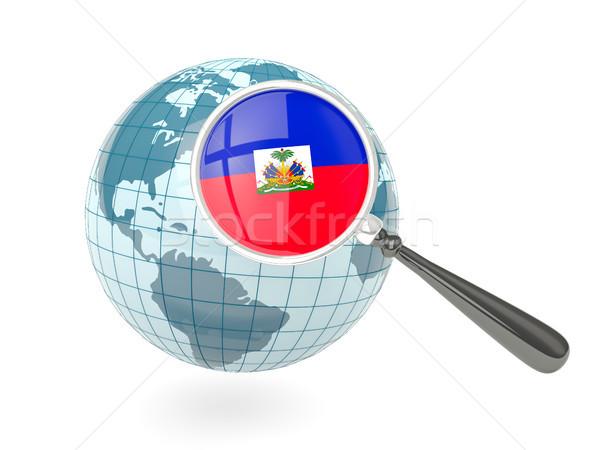 拡大された フラグ ハイチ 青 世界中 孤立した ストックフォト © MikhailMishchenko