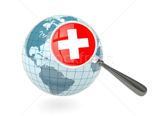 Stok fotoğraf: Bayrak · İsviçre · mavi · dünya · yalıtılmış