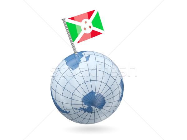 Wereldbol vlag Boeroendi Blauw geïsoleerd witte Stockfoto © MikhailMishchenko