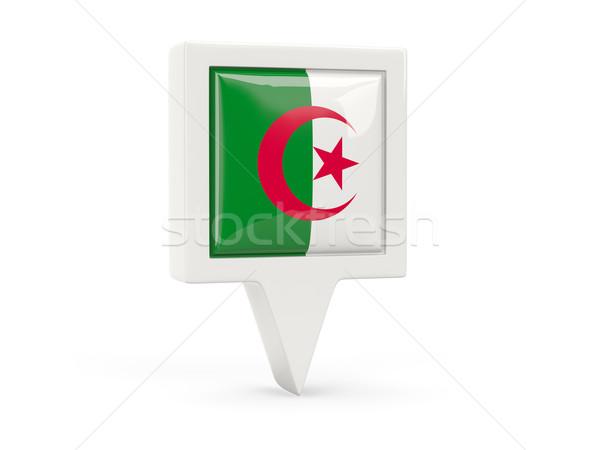 Carré pavillon icône Algérie isolé blanche Photo stock © MikhailMishchenko