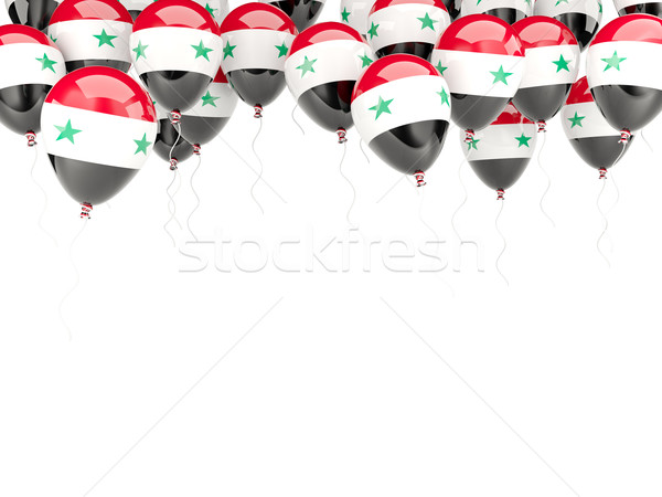 Balão quadro bandeira Síria isolado branco Foto stock © MikhailMishchenko