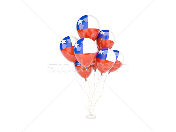 Voador balões bandeira Chile isolado branco Foto stock © MikhailMishchenko